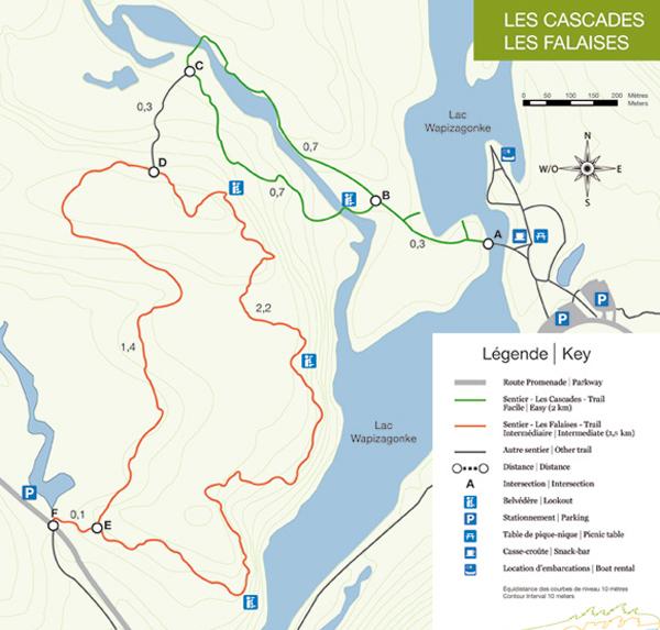 carte sentier les falaises parc mauricie