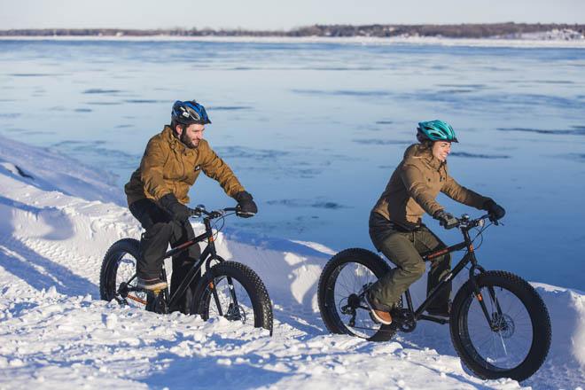 vélo sur neige - parc ile saint-quentin - fatbike