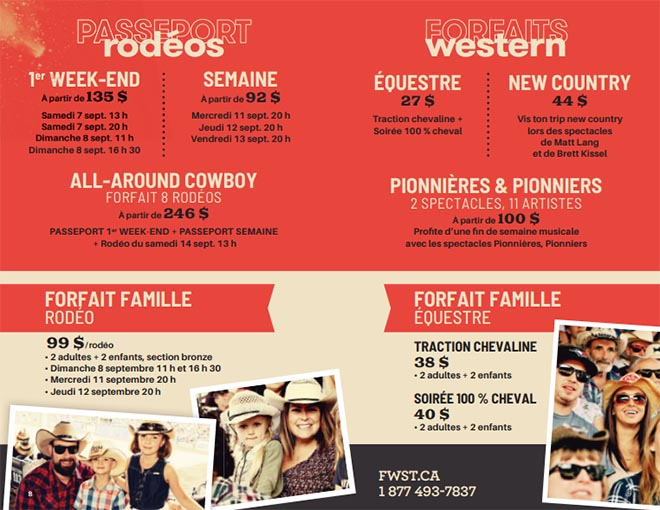 Forfaits Festival Western St-Tite 2019