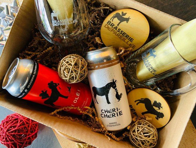 Boite-cadeaux de la brasserie depareillée, achat local pour Noël en Mauricie