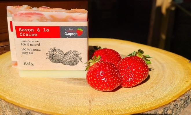 savon à la fraise, produits collaboratifs pour encourager l'achat local