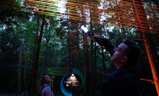 Parcours nocturne en forêt, circuit interactif en Mauricie